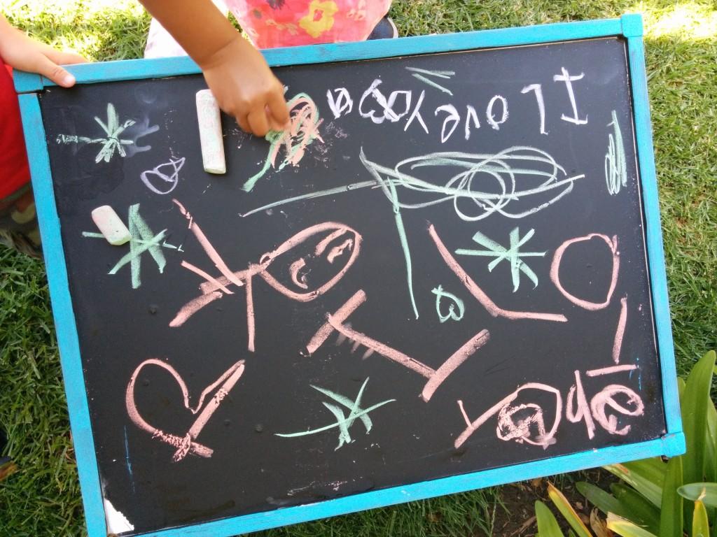chalk board little hand