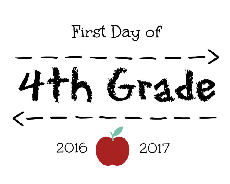 First Day of 4th Grade Sign