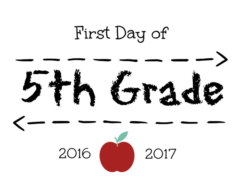 First Day of 5th Grade Sign