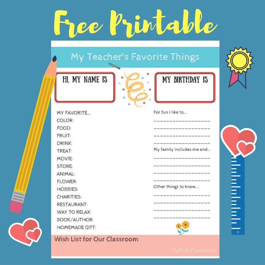 It's just a graphic of Tactueux Teacher Favorite Things Printable