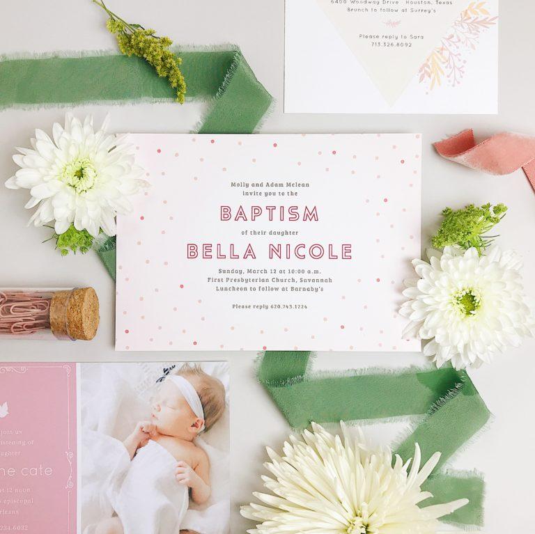 Basic invite custom invitations for lifes special occasions basic invitebaby girl garden baptism announcements stopboris Choice Image